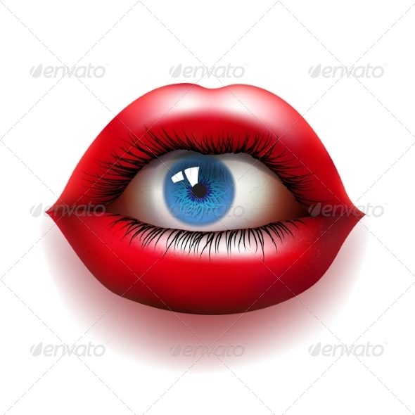 GraphicRiver Red Lips with Eye 8569092