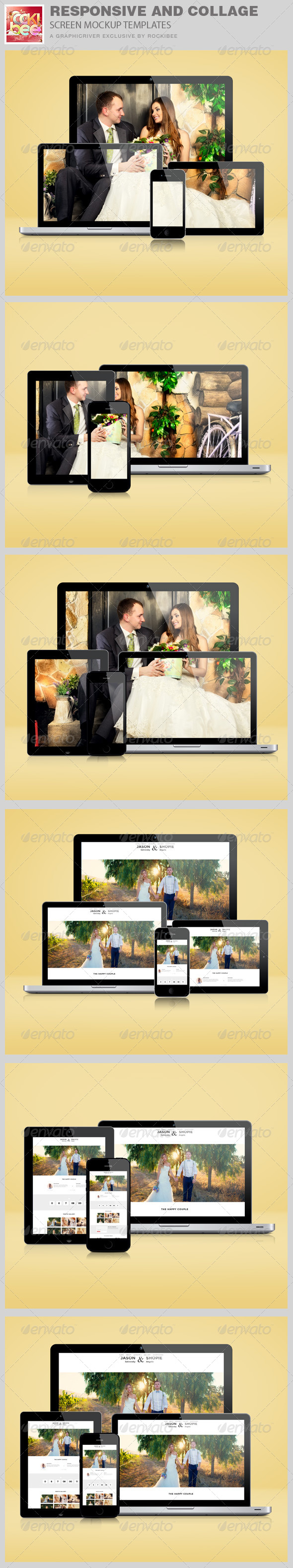 GraphicRiver Responsive and Collage Screen Mockup Templates 8569193
