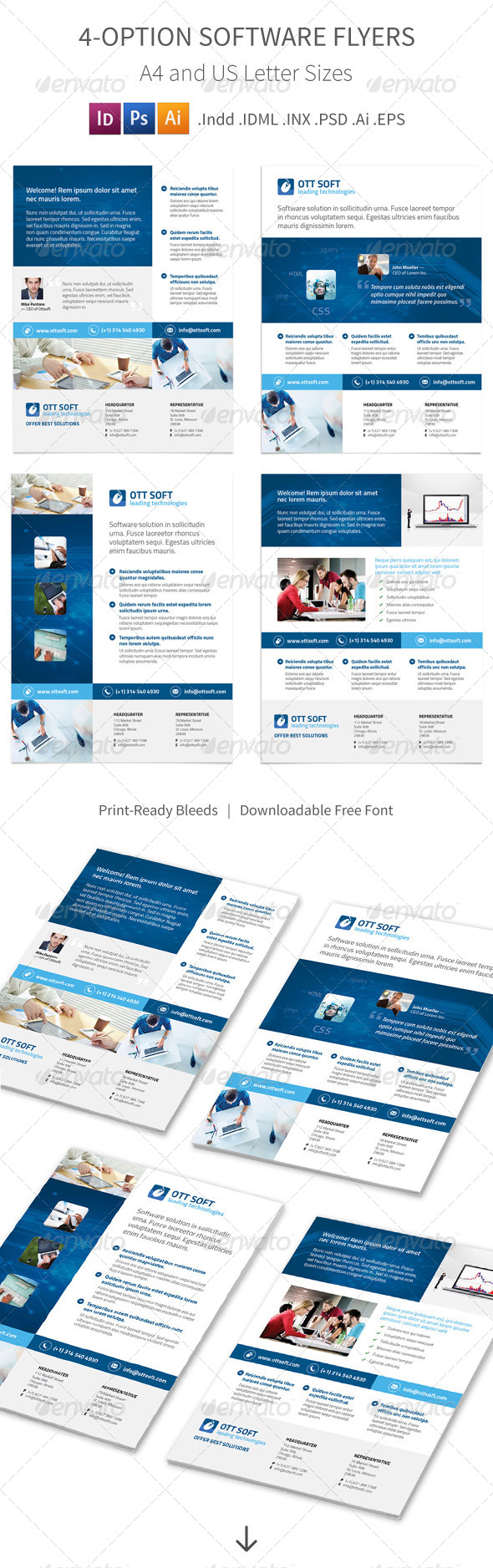 GraphicRiver IT and Software Flyers 4 Options 8569371