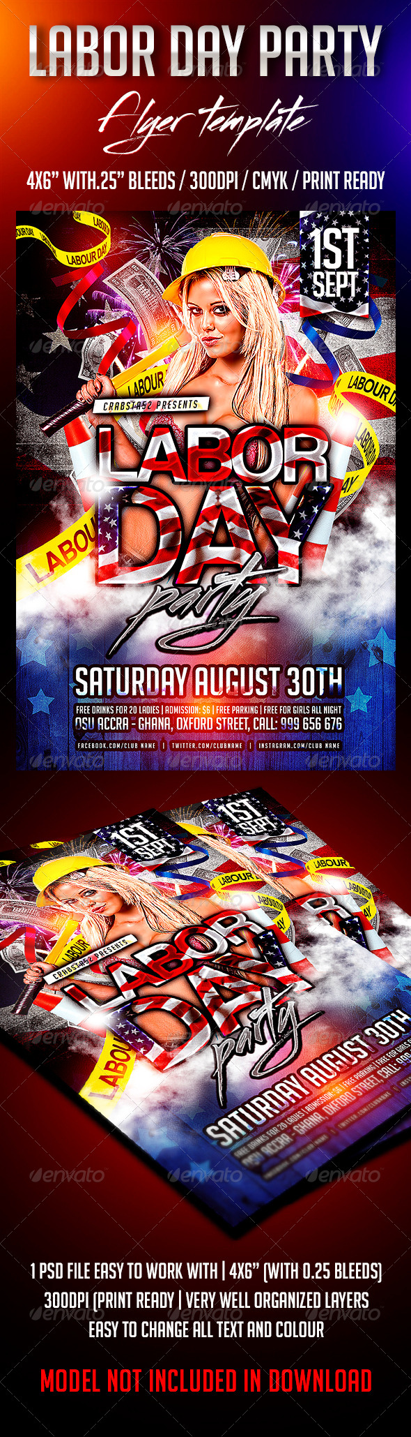 GraphicRiver Labour Day Party Flyer Template 8569659