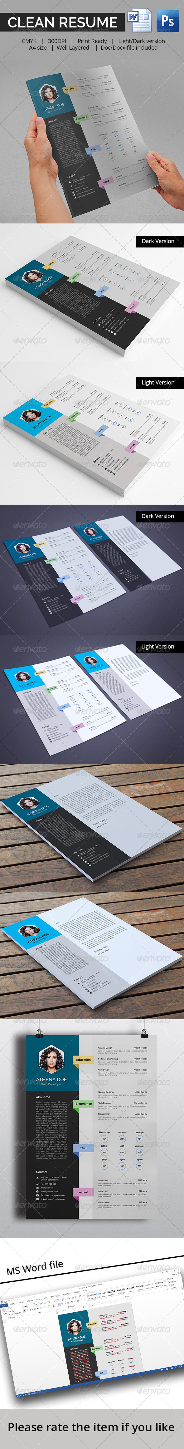 GraphicRiver Clean Resume With MS Word 8563624