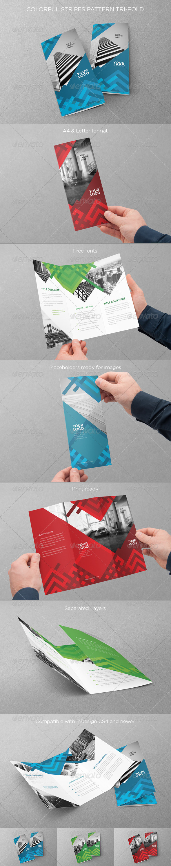 GraphicRiver Colorful Stripes Pattern Trifold 8569893