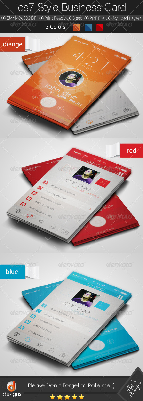 GraphicRiver IOS 7 Style Business Card 8566099