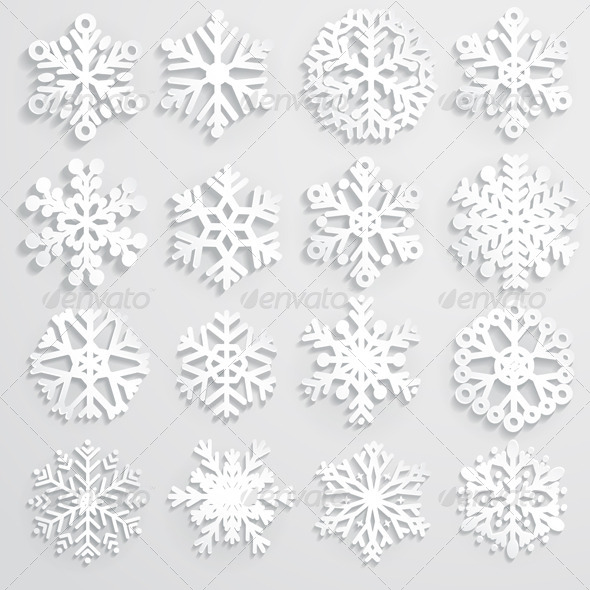 Set of Paper Snowflakes