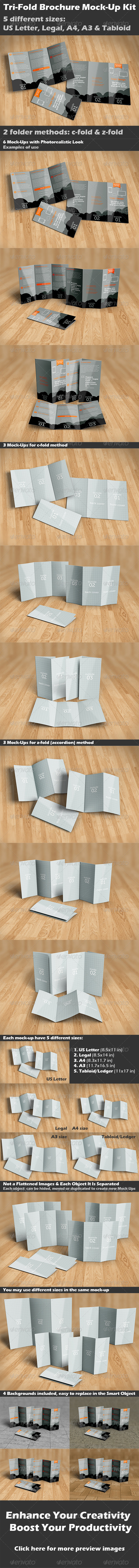 GraphicRiver Tri-Fold Brochure Mock-Up Kit 8570082