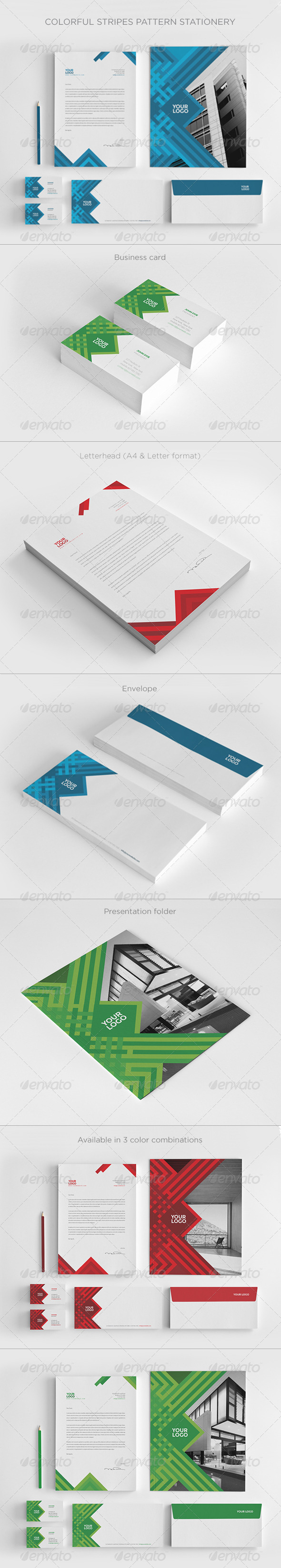 GraphicRiver Colorful Stripes Pattern Stationery 8570218