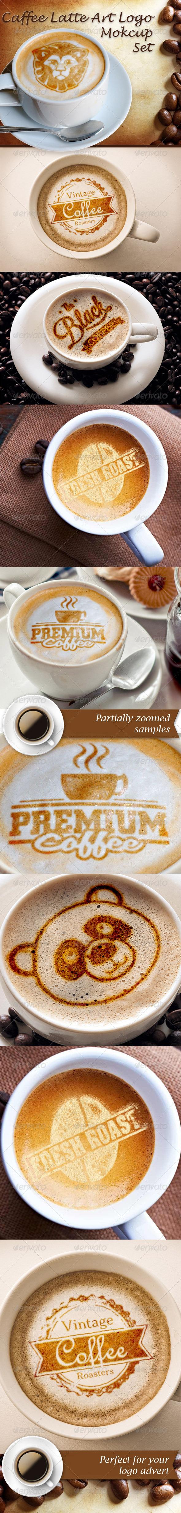 Caffee Latte Art Logo Mockup Set - Logo Product Mock-Ups
