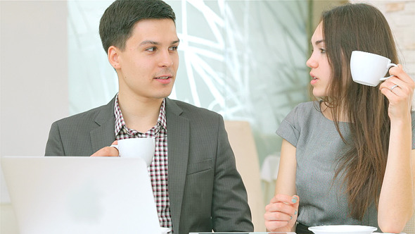 Young Couple Successful Businessmen Working