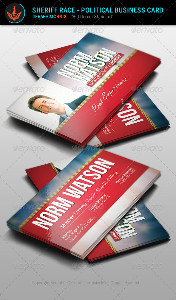 GraphicRiver Sheriff Race Political Business Card Template 8570698