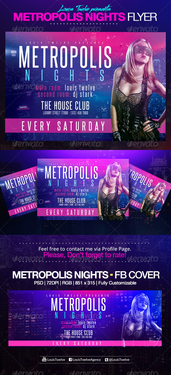 Metropolis Nights | Horizontal Flyer + FB Cover | GraphicRiver
