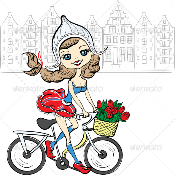 GraphicRiver Girl on a Bike in Amsterdam 8573900