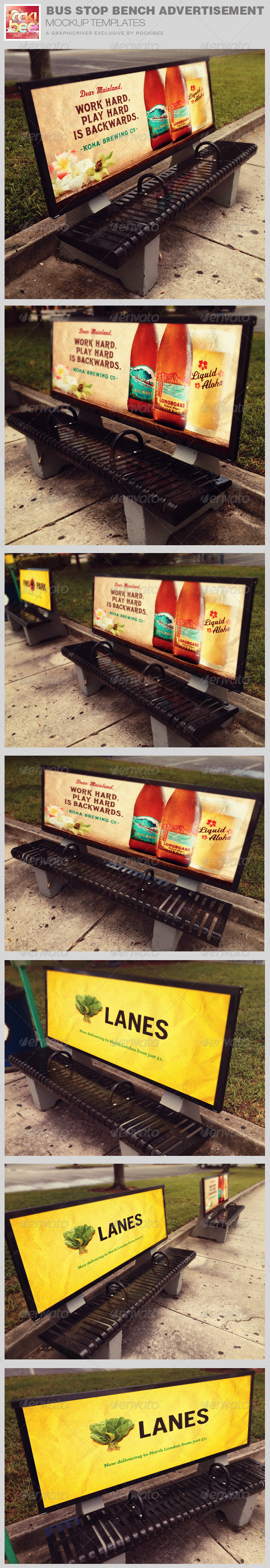 GraphicRiver Bus Stop Bench Advertisement Mockup Templates 8574665