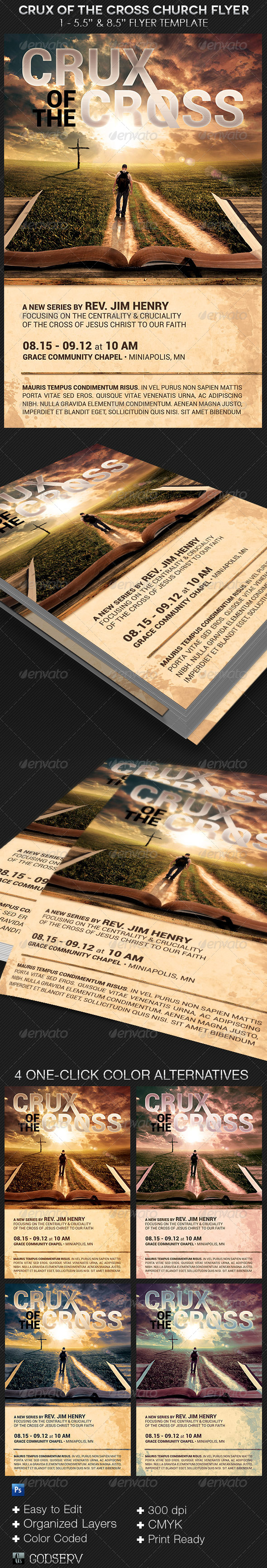 GraphicRiver Crux of The Cross Church Flyer Template 8574732