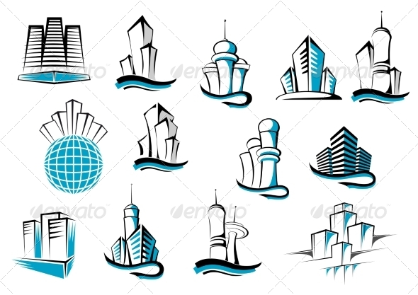 GraphicRiver Stylized Building Icons 8574787