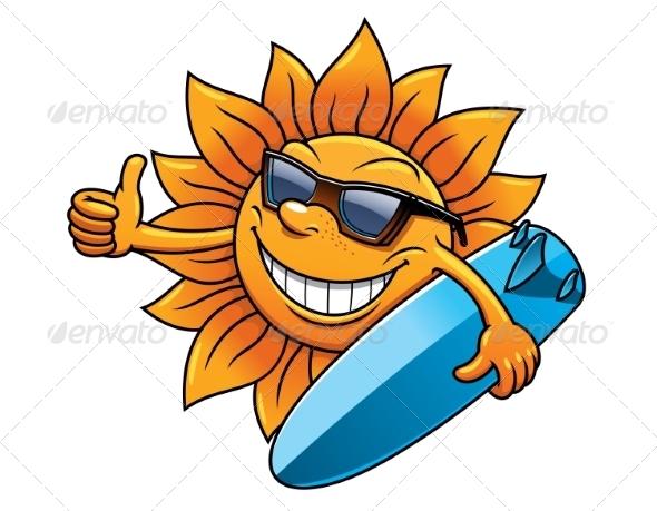 GraphicRiver Cartoon Sun With Surfboard 8574790