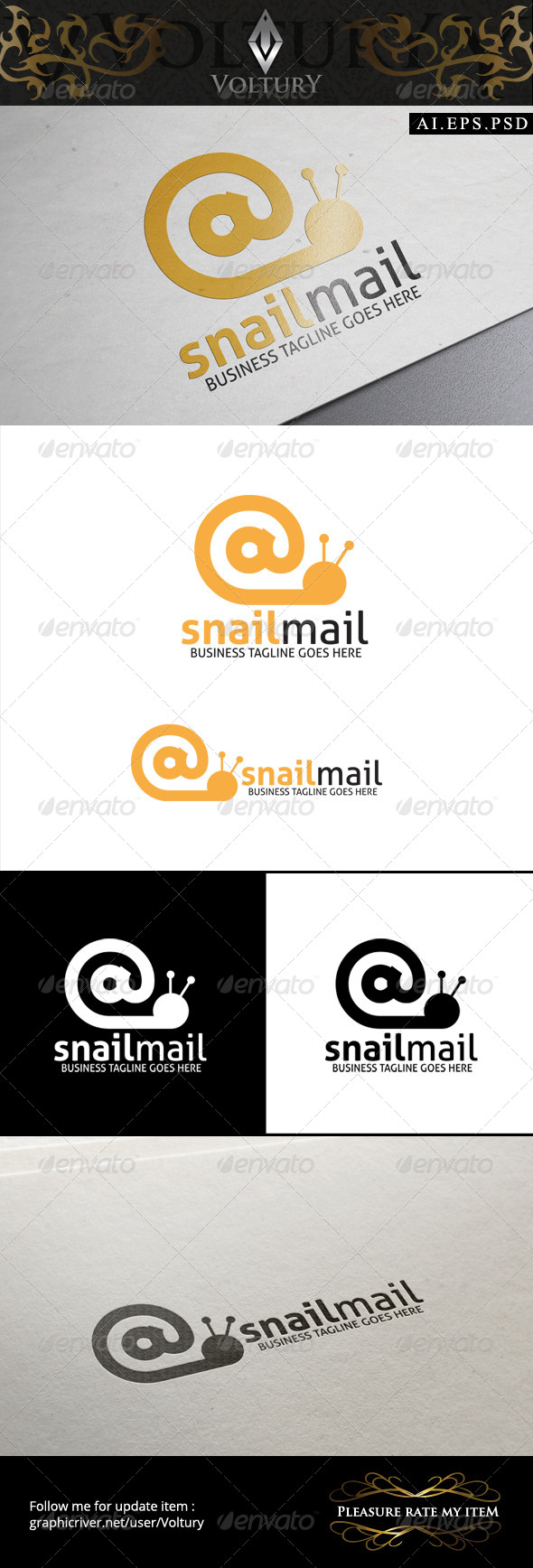GraphicRiver Snail Mail Logo 8574706