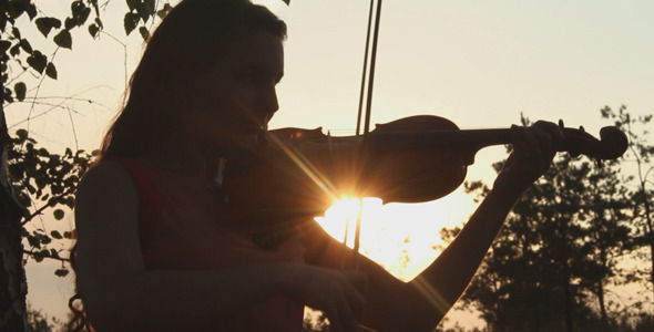 Girl Playing The Violin in The Woods 2