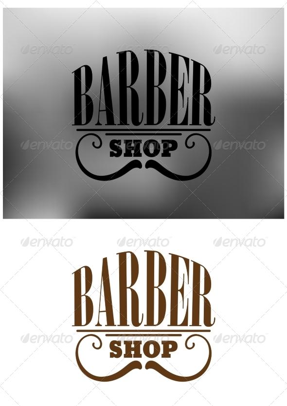 GraphicRiver Retro barber shop emblem with mustache 8574834