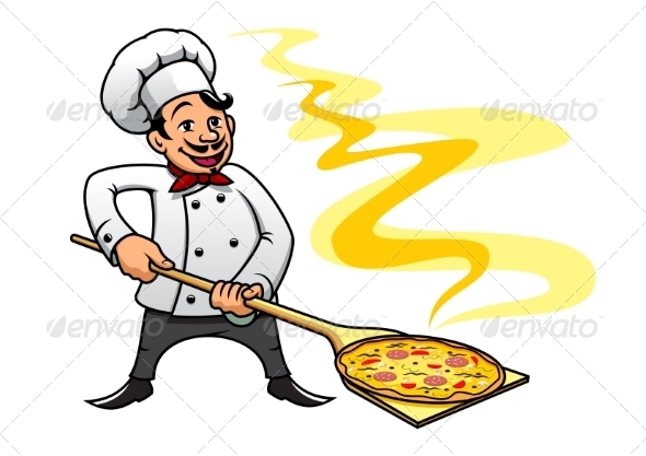 GraphicRiver Cartoon Chef Cooking Pizza 8574879
