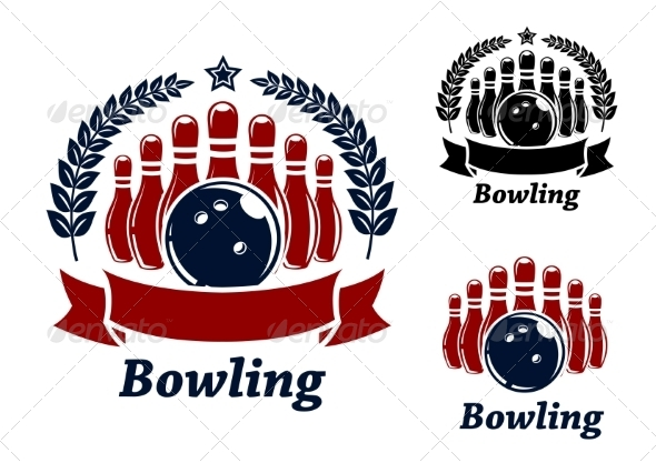 GraphicRiver Bowling Emblem With Ball and Ninepins 8574883