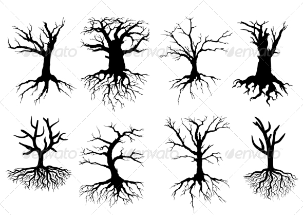 GraphicRiver Bare tree silhouettes with roots 8574889