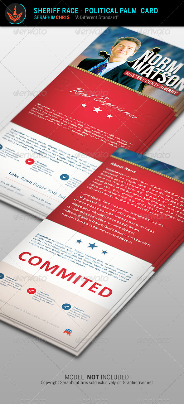 GraphicRiver Sheriff Race Political Palm Card Template 8574941