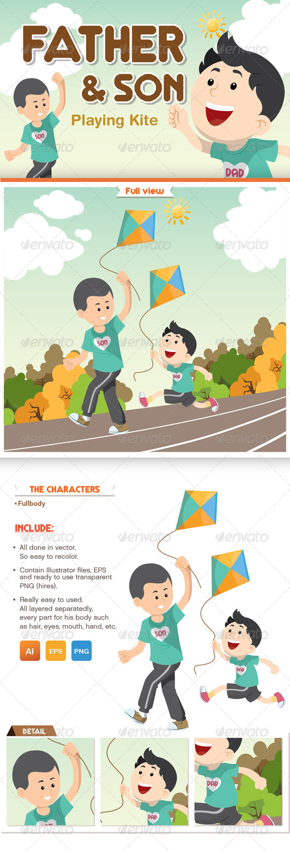 GraphicRiver Father and Son Playing Kite 8565818