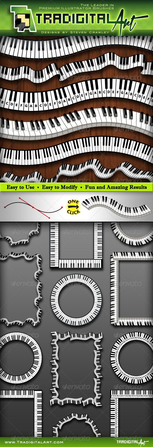 GraphicRiver Piano Keys Pattern Brush Set & 8575024