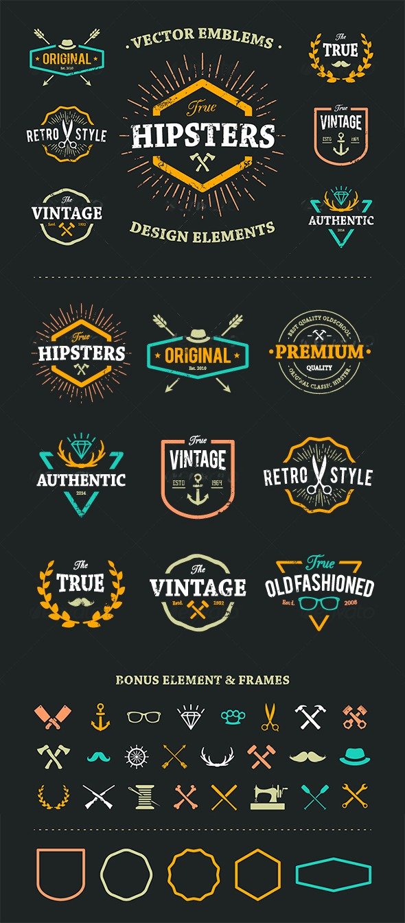 GraphicRiver True Hipster Vector Set 8560359