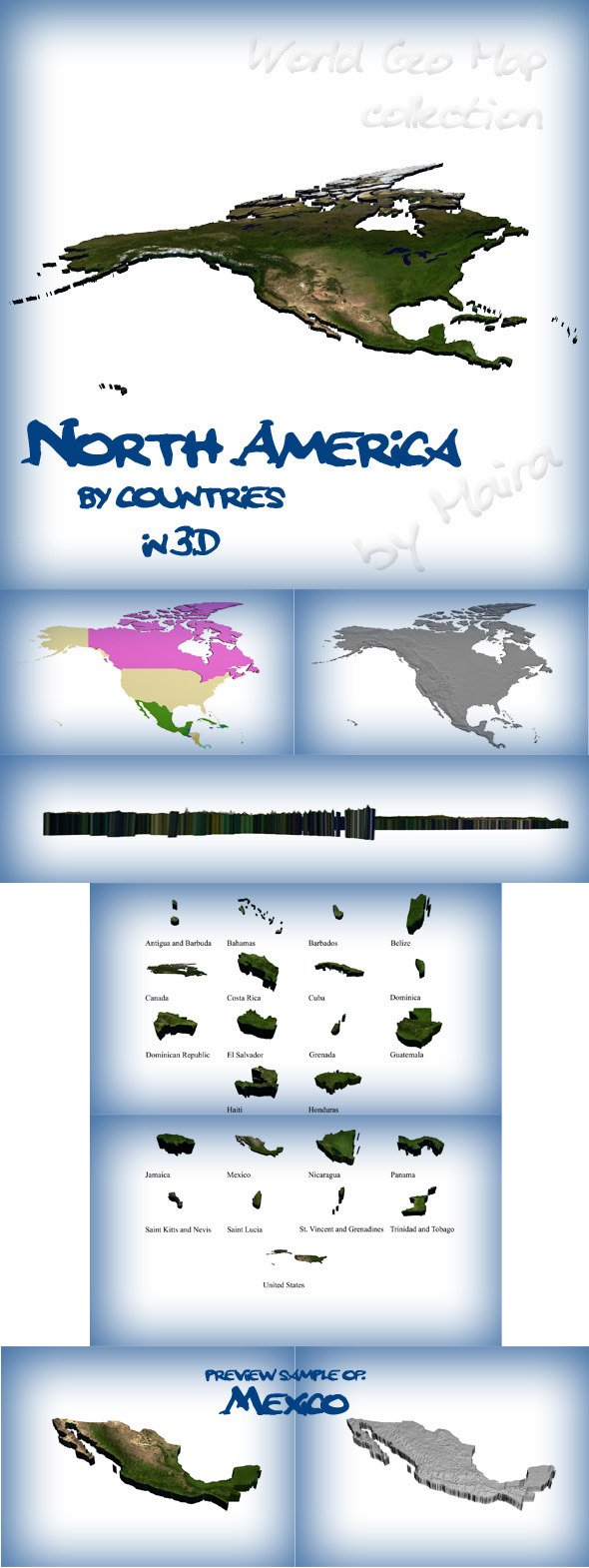 3DOcean World Geo Map North America 8575699