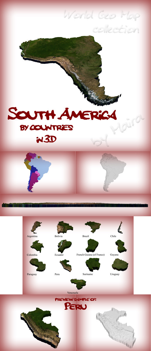 3DOcean World Geo Map South America 8575821