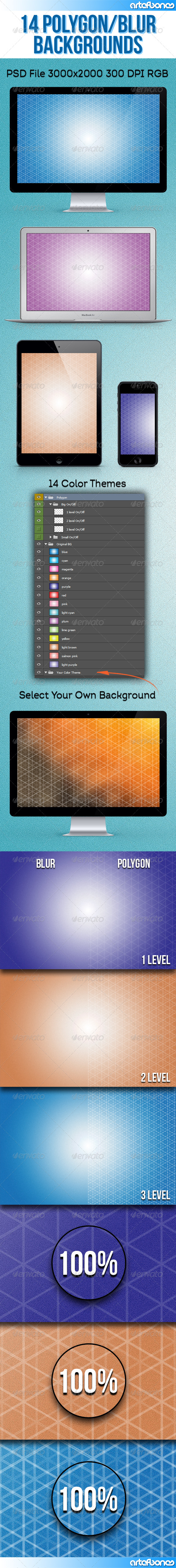 GraphicRiver 14 Polygon and Blur Backgrounds Vol.2 8575890