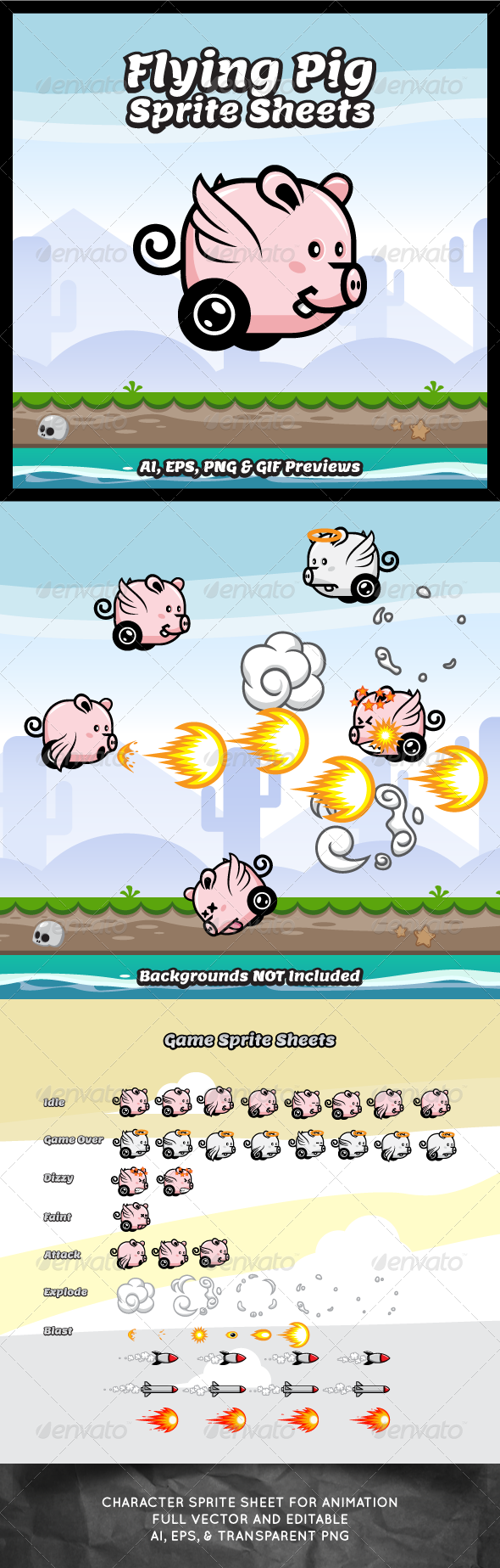 Flying Pig Game Character Sprite Sheets