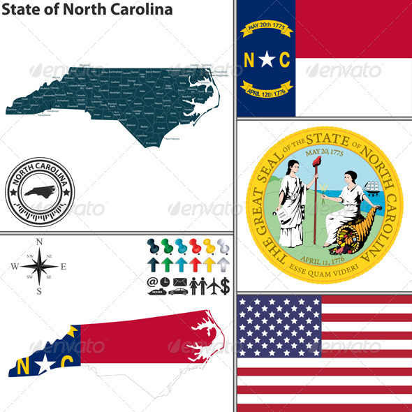 GraphicRiver Map of state North Carolina USA 8576016