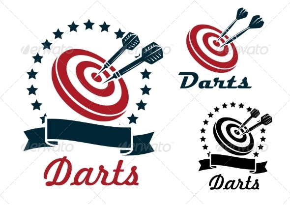 GraphicRiver Darts Sporting Symbols and Emblems 8576036