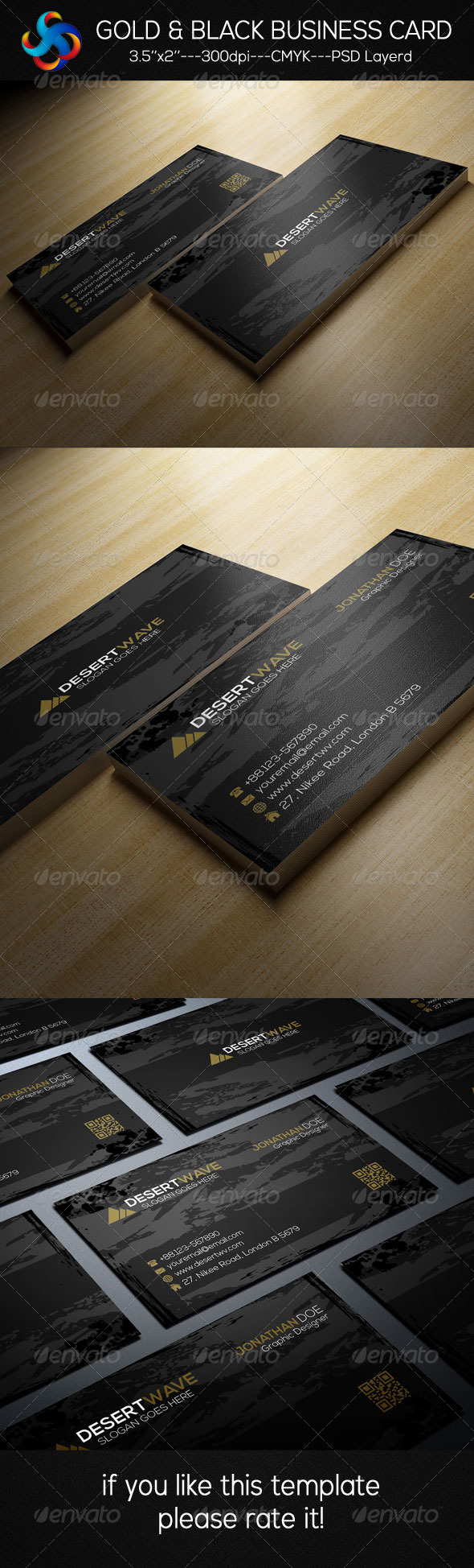 GraphicRiver Gold & Black Business Card 8576049