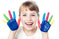 Smiling girl with painted hands - PhotoDune Item for Sale