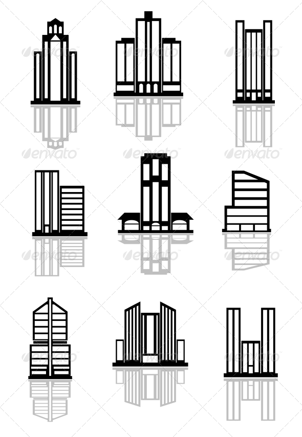GraphicRiver Skyscraper and Office Building Icons 8576456
