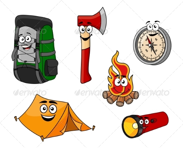 GraphicRiver Cartoon Camping and Travel Objects 8576475