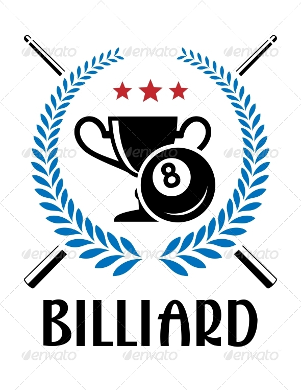 GraphicRiver Billiard Emblem with Laurel Wreath 8577794
