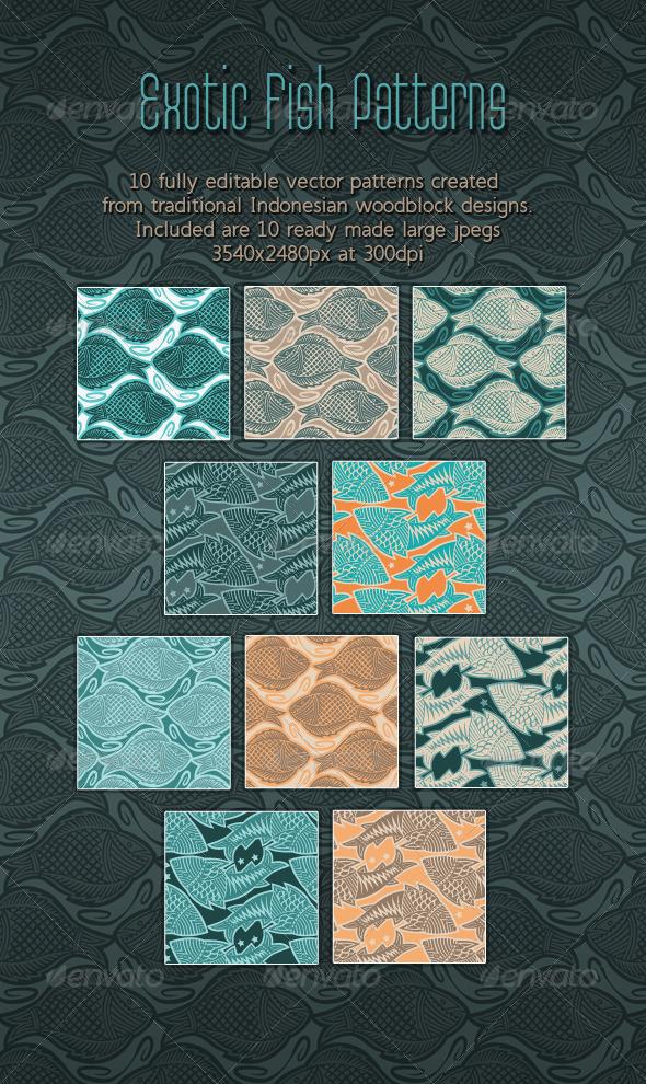 GraphicRiver Fish Elegant Woodcut Printing Block Patterns 8582752