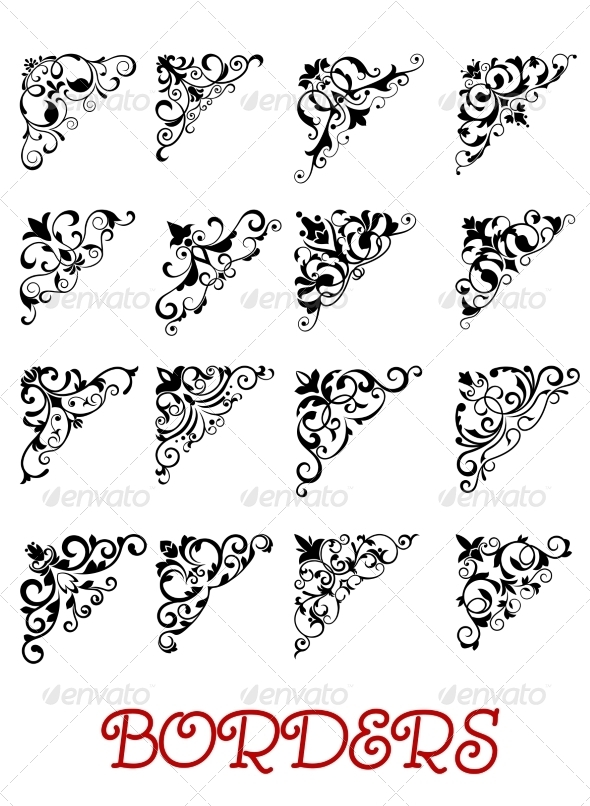 GraphicRiver Corner Vignette Border Elements Set 8582889