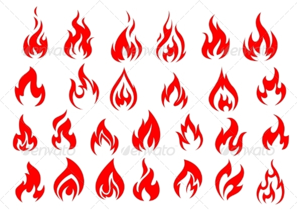 GraphicRiver Red Fire Icons and Pictograms Set 8582910