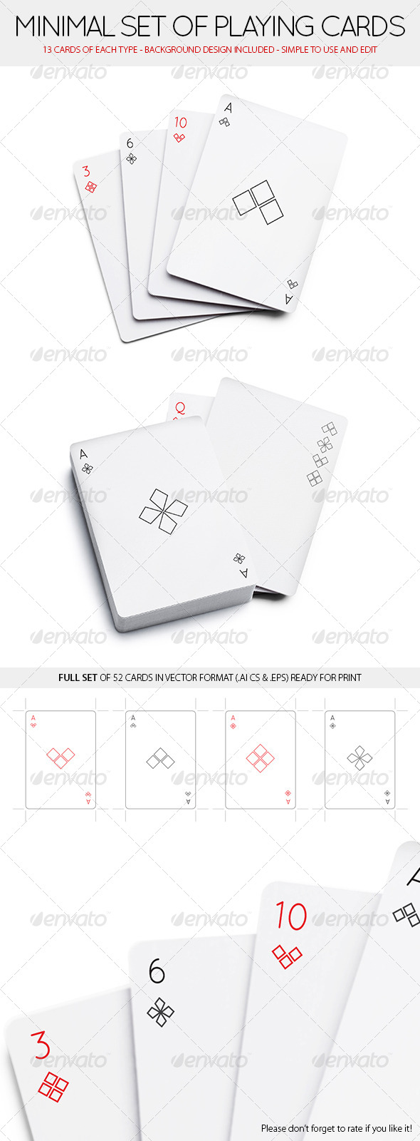 GraphicRiver Minimal Set of 52 Playing Cards Standard deck 8563579