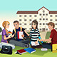 College Students Studying Outdoor - GraphicRiver Item for Sale