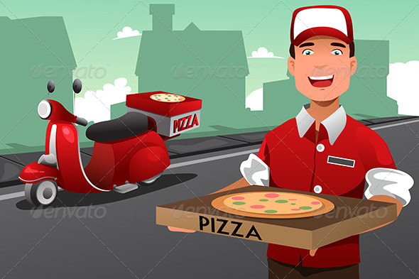 GraphicRiver Man delivering Pizza 8584187