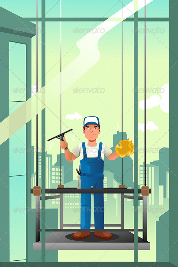 GraphicRiver Windows Cleaner of High Rise Buildings 8584208