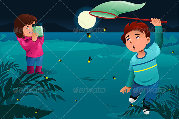 GraphicRiver Kids catching Fireflies 8584653