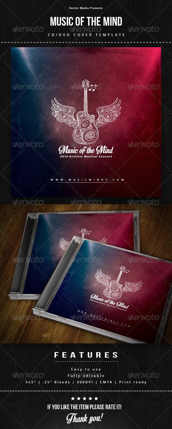 GraphicRiver Music of The Mind Cd Cover 8584679