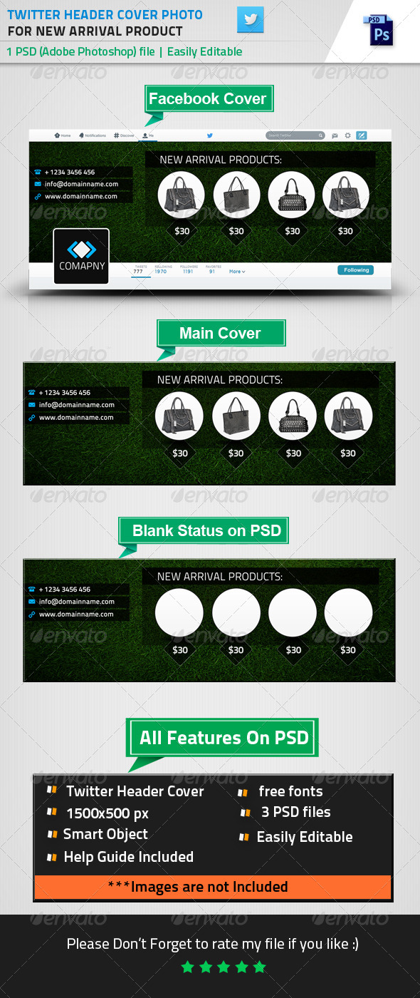 GraphicRiver Twitter Header Cover For New Arrival Products 8584784